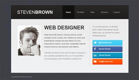 Personal Website Templates Html5 With Css3 Animations Poksally