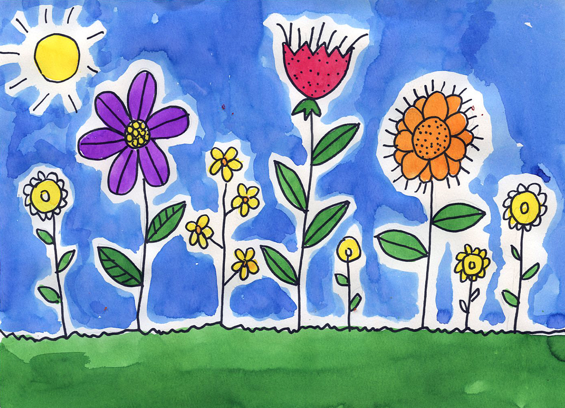 flower watercolor painting art projects for kids