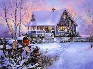 Kuća, snijeg, zima, Božić slike čestitke download free e-cards Christmas