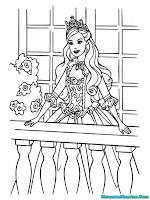 Mewarnai Gambar Putri Barbie Berdiri Di Balkon Istana
