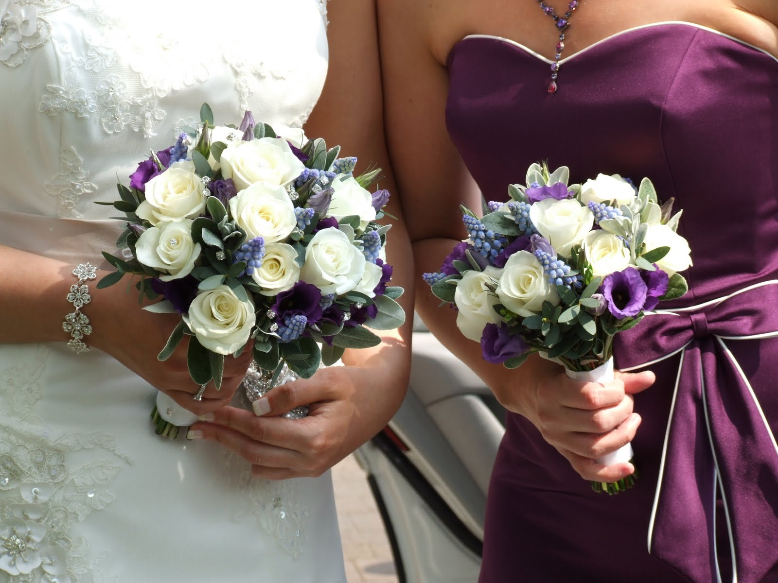 crystal flowers classic ivory purple wedding bouquets