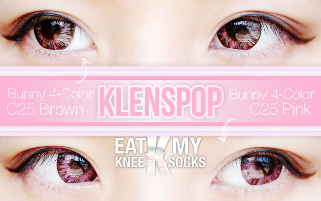 A review of the Lenspop Bunny 4-Color C25 Pink and Brown circle lenses from Klenspop, brought to you by Eat My Knee Socks/Mimchikimchi.