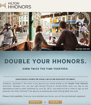 Hilton Double Points or Miles June 2012 Promotion