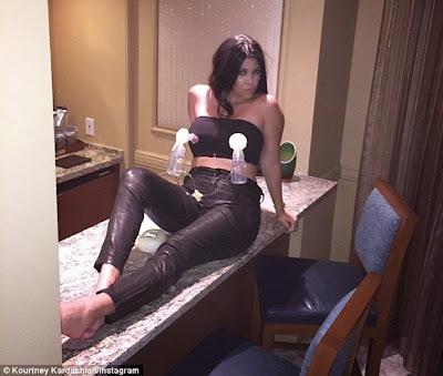 Kourtney Kardashian pumping breast milk