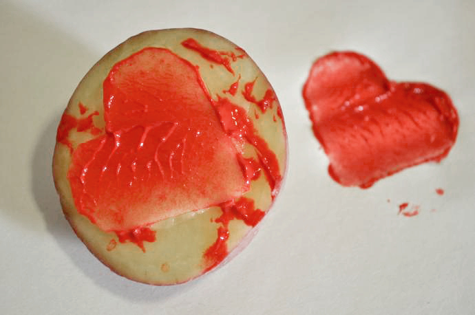 Valentine's Day Craft, potato stamping
