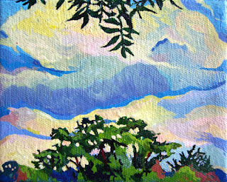 A landscape painting of trees and sky near Barton Springs in Austin