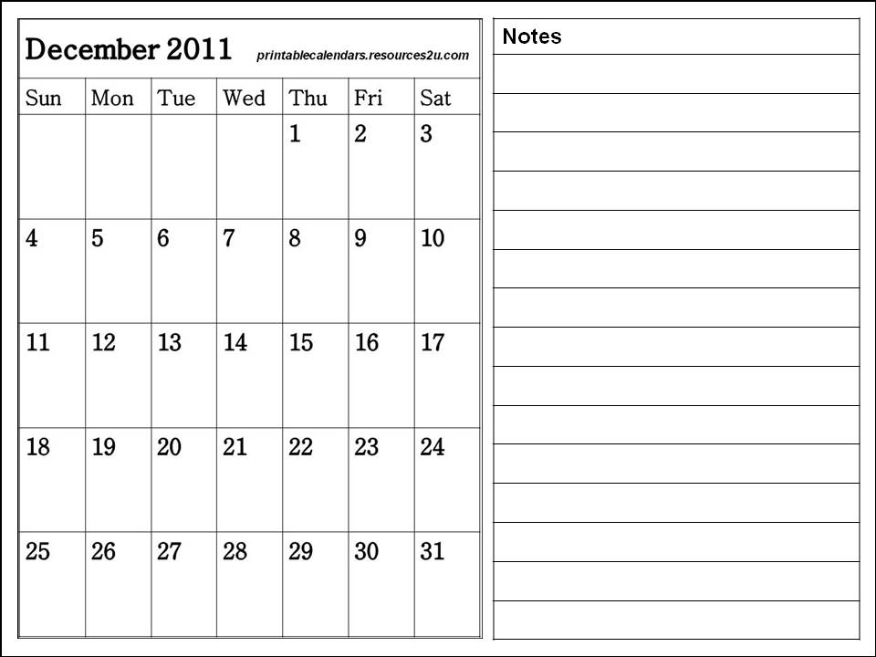 Free Calendars 2015, Bookmarks, Cards: Blank December 2011 Calendar ...