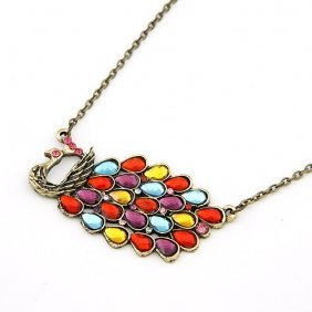 multicolored peacock diamond necklace