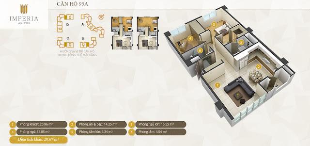 Mặt bằng căn hộ Imperia An Phú 95 m2 2 phòng ngủ