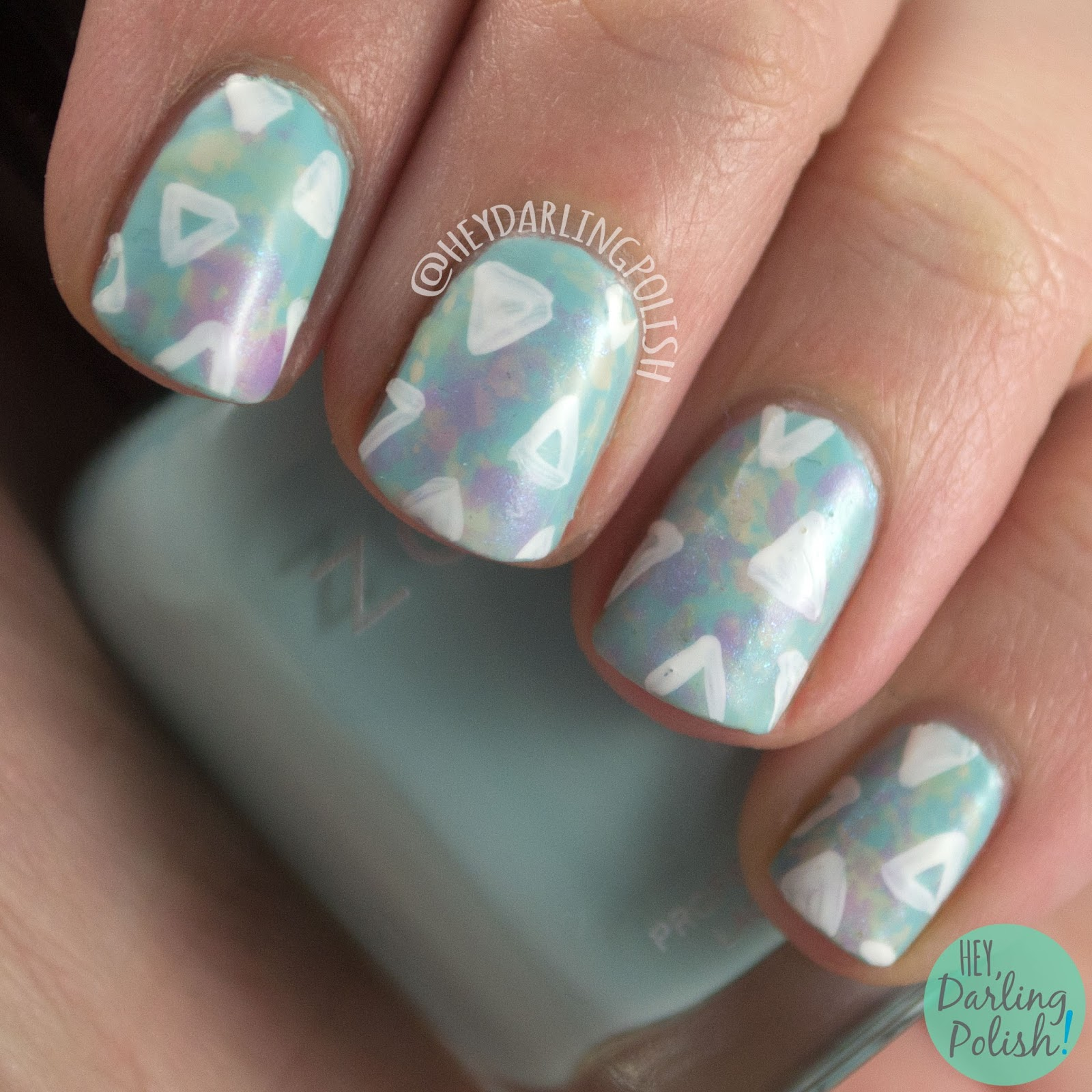 nails, nail art, nail polish, saran wrap, triangles, hey darling polish, pastels, spring
