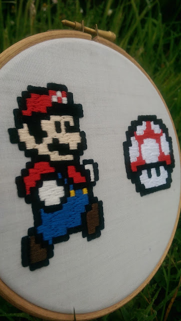 Super Mario and mushroom embroidery