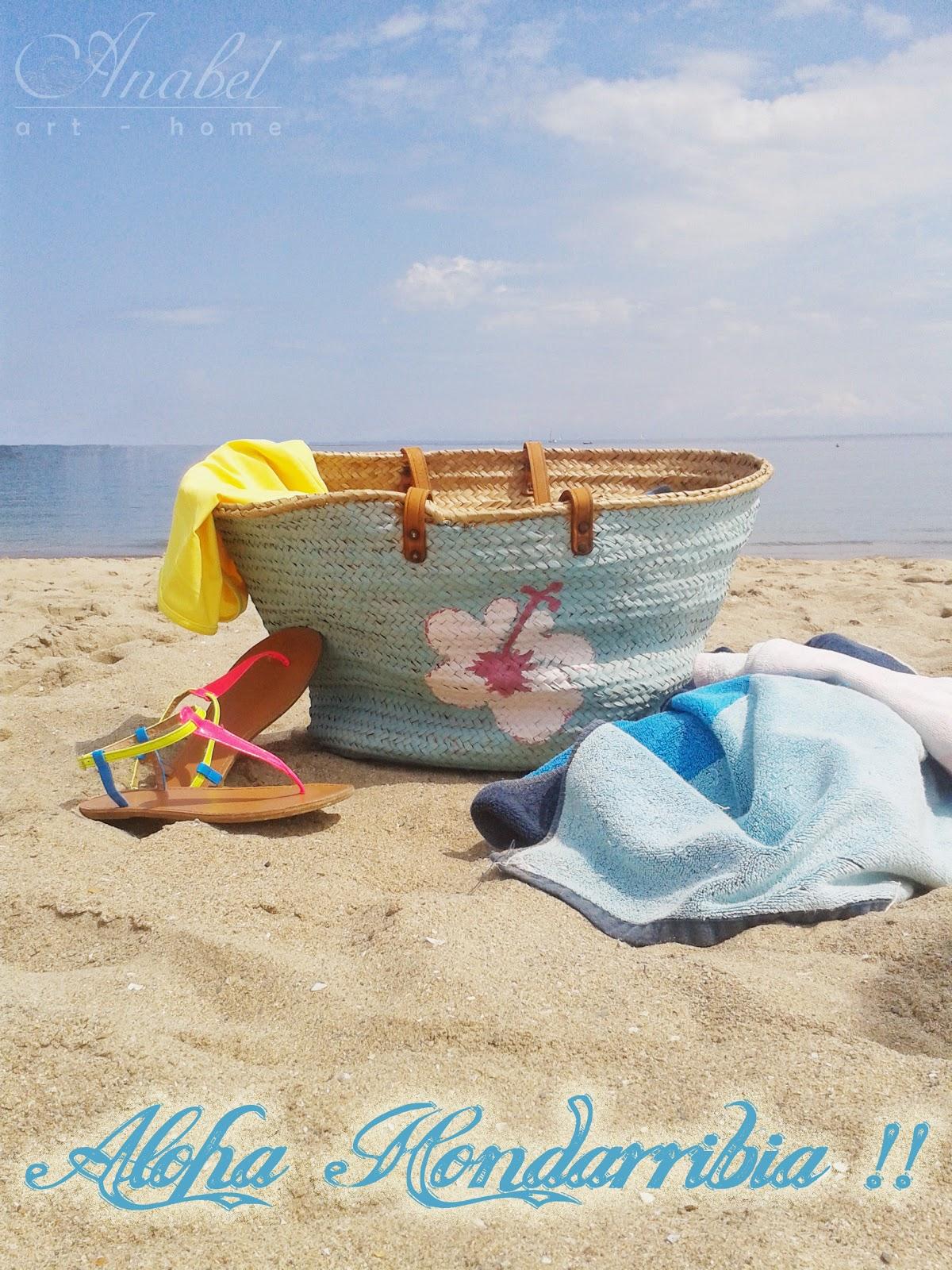 DIY cesto mimbre para la playa