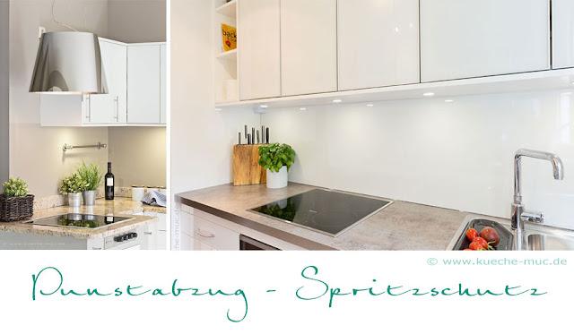 moderner Dunstabzug zu Granitarbeitsplatte im Landhausstil, moderne weisse Küche mit Arbeitsplatte wie Naturstein