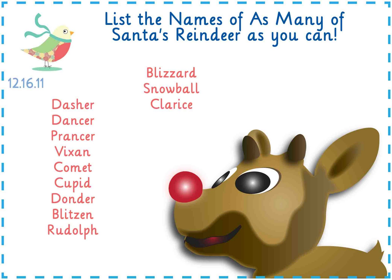 Santas Reindeer Names List the many names of