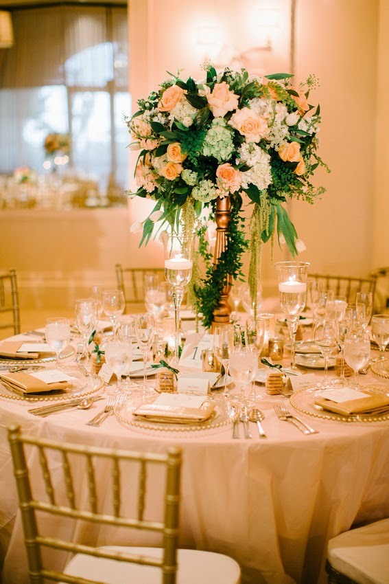 The sweetheart's table was draped in a sequin linen and we added green ...
