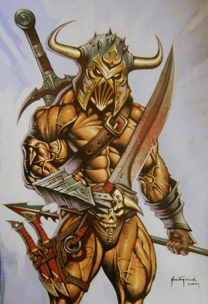 Dessin de Noël Guard représentant un guerrier barbare casqué