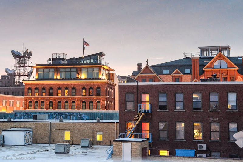 Portland, Maine Summer Night City on top of Parking Garage. Photo by Corey Templeton.