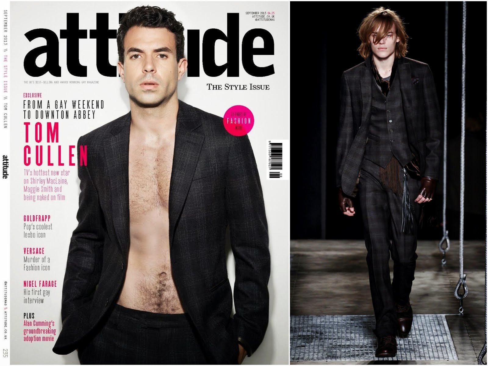00O00 Menswear Blog Tom Cullen in John Varvatos - Attitude Magazine September 2013