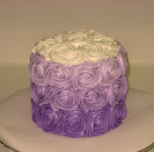Purple Ombre Rose Cake (Picture Taken With the Flash)