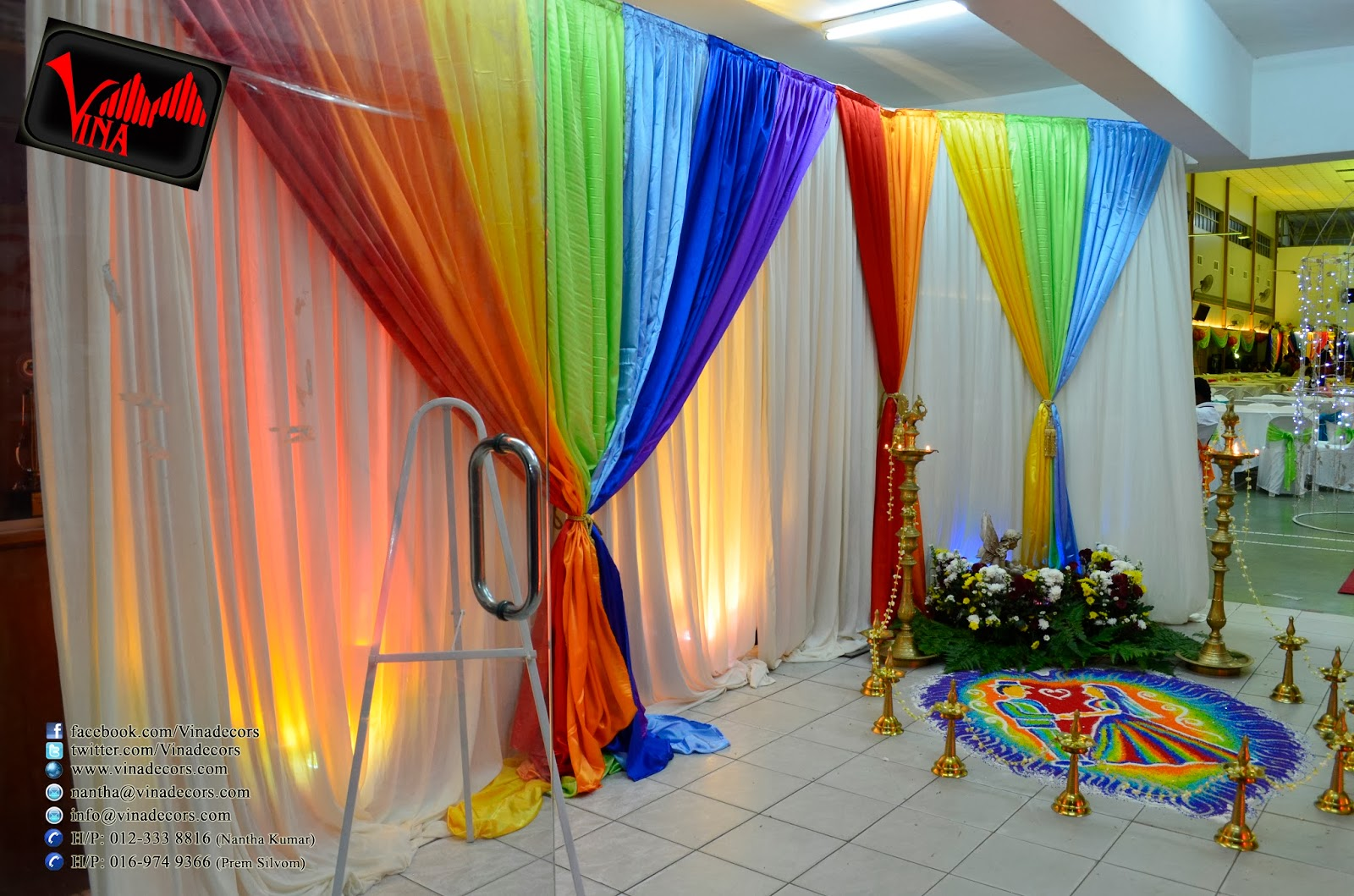 Rainbow Color Concept Wedding Dinner Decoration at SRJK (C) Batu 14, Puchong Hall (Ledchumanan Weds Nancy Nani) on 08th February  Decoration by Vina Canopy & Decor