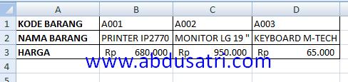 contoh fungsi hlookup dan vlookup di Ms excel