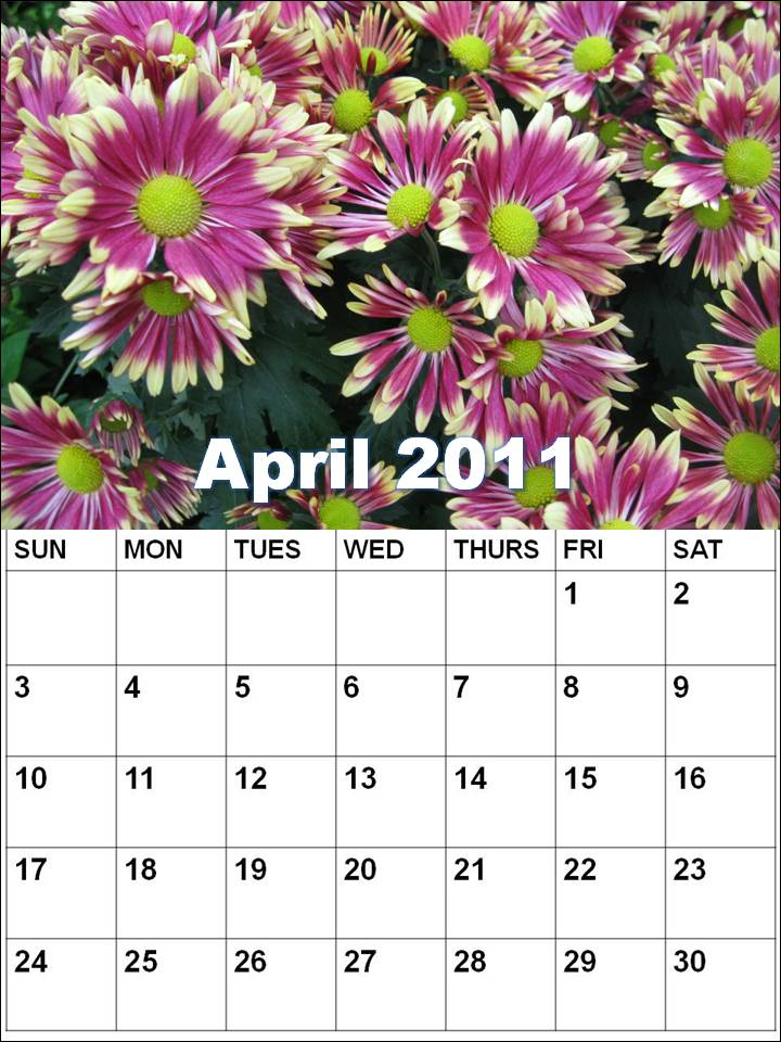 printable monthly calendar april 2011. printable monthly calendar