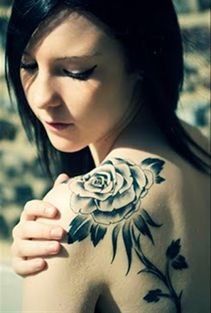 Shoulder Black Rose Tattoo