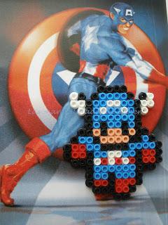 Imán hecho con Hama Beads del Capitán America