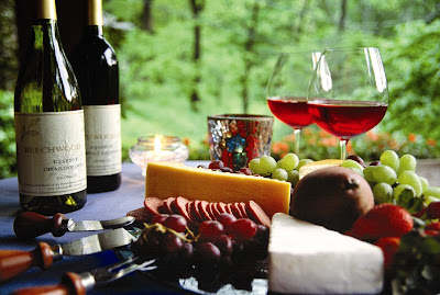 Wine Tasting with fruit, cheese, and meat plate.
