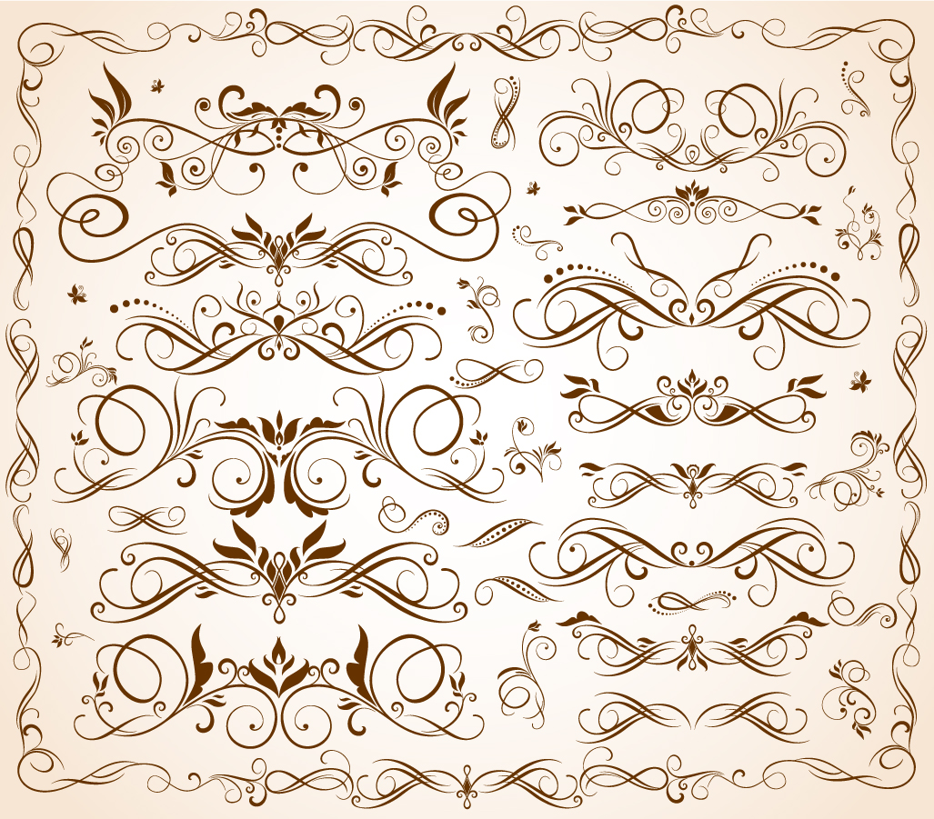 流麗な曲線の飾り罫 flow curves pattern borders イラスト素材