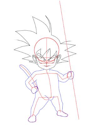 cara menggambar Goku kecil tahap 10