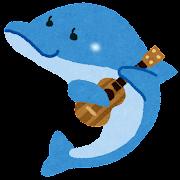 イルカとウクレレのイラスト(動物の音楽隊)