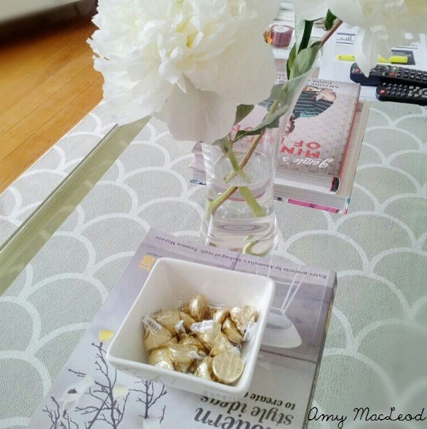 Peonies, white+gold, grey scallop rug - Amy MacLeod - Five Kinds of Happy blog