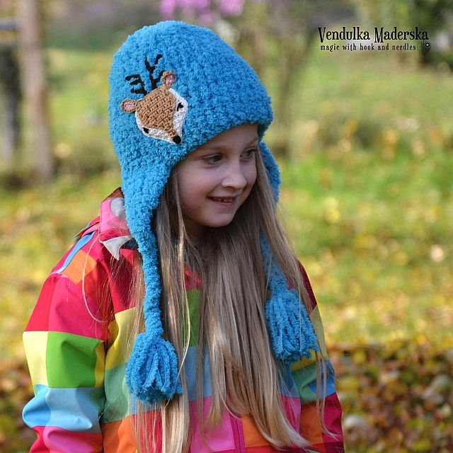 Crochet deer hat - pattern by VendulkaM