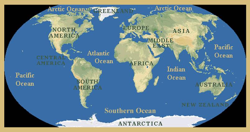 World Map Continents Oceans Desktop Wallpaper 805 X 424 Hd