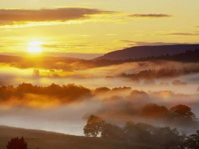 Закат и туман
