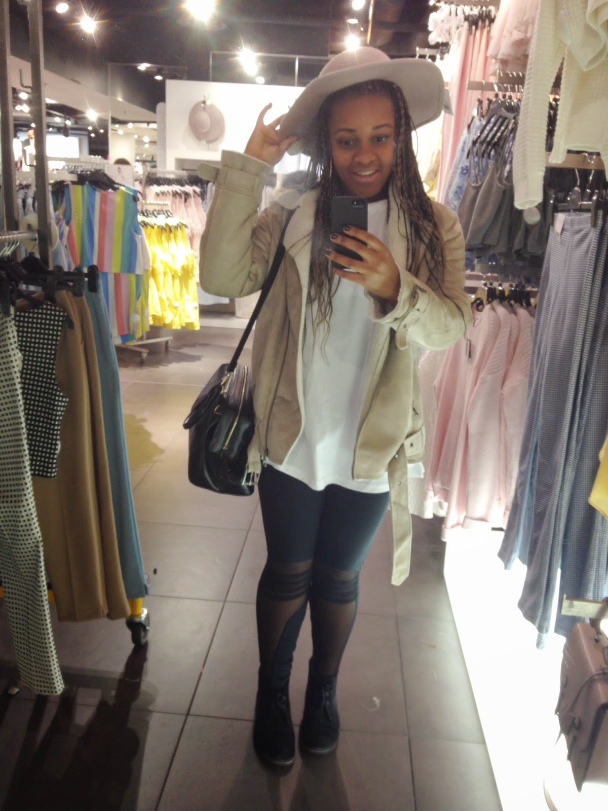 HM Aviator Jacket ASOS Massive White T-Shirt Mesh Sporty Leggings Clarks Desert Boots