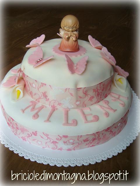 torta per la prima comunione in rosa