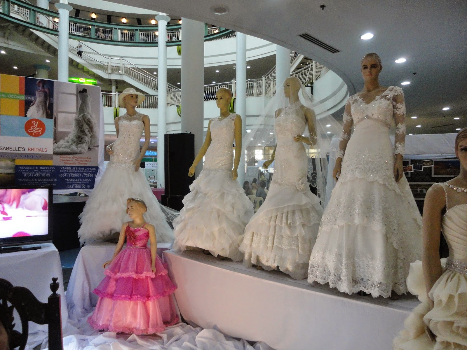 A Display Of Bridal Gowns And Groom Suits By Ysabelles S During The Kasalan 2017 Wedding Exhibition At Fountain Area Robinson Place