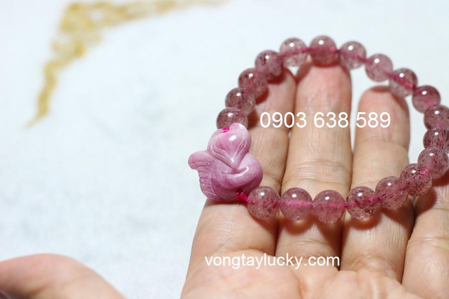 Hồ ly đá ruby hồng thiên nhiên mệnh HỎA, THỔ