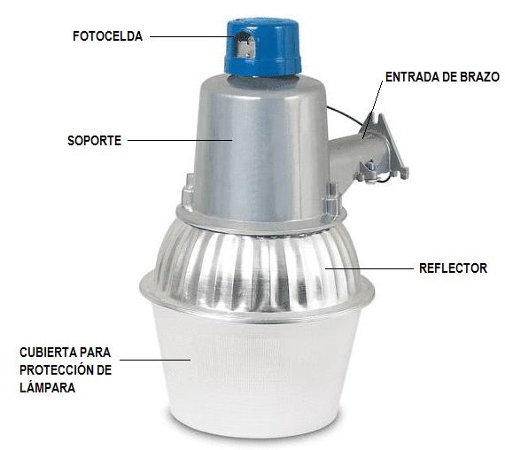 Lámpara suburbana con fotocelda