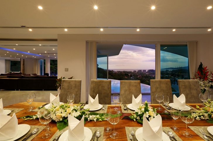 Dining room at night in Modern Villa Beyond in Phuket
