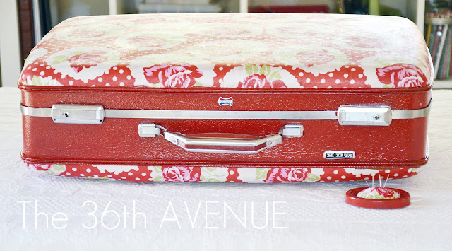Mod Podged Fabric Suitcase The 36th AVENUE