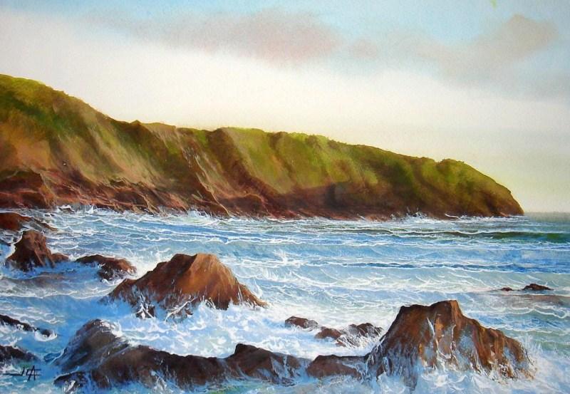 Imágenes Arte Pinturas: Pintura acuarela de paisaje marino con rocas