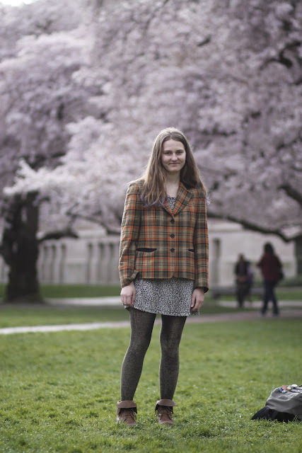 Indigo Trigg-Hauger plaid blazer university of washington cherry blossoms seattle street style fashion