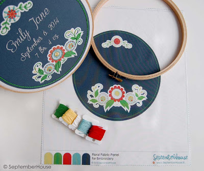 DIY kit for Hand Embroidery, Modern Nursery Wall Art in floral design