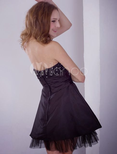 China Wholesale Clothes - Black Strapless Beaded Satin Cocktail Homecoming Dress