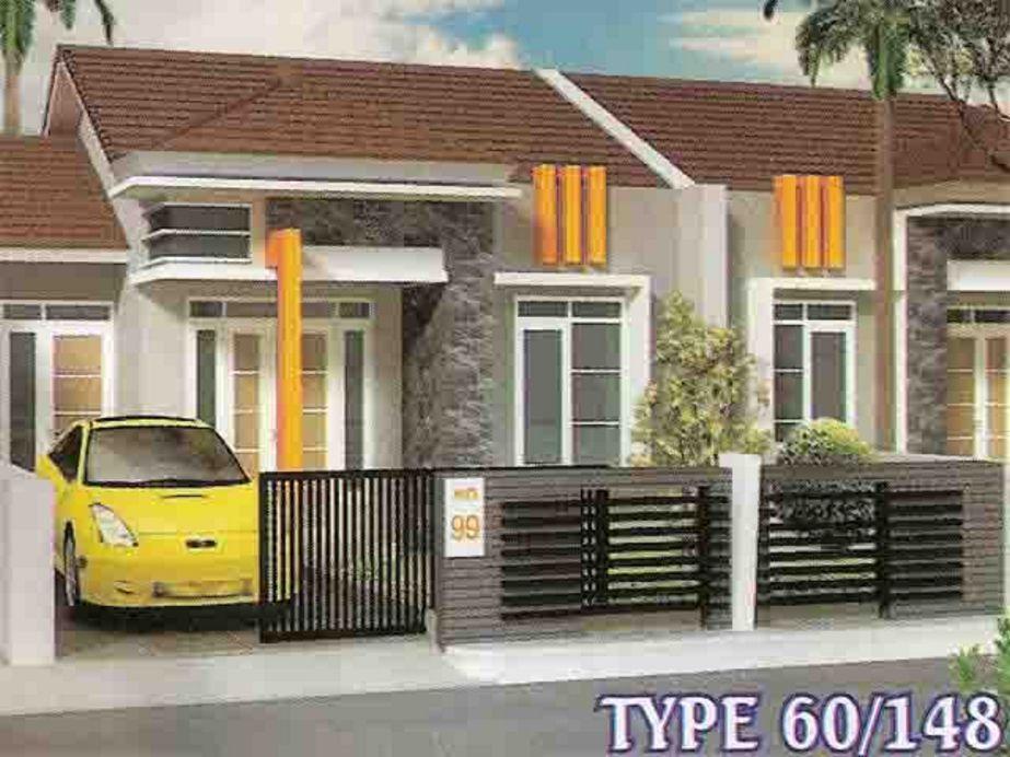 fasad sketsa 3d desain rumah type 60 terlihat depan