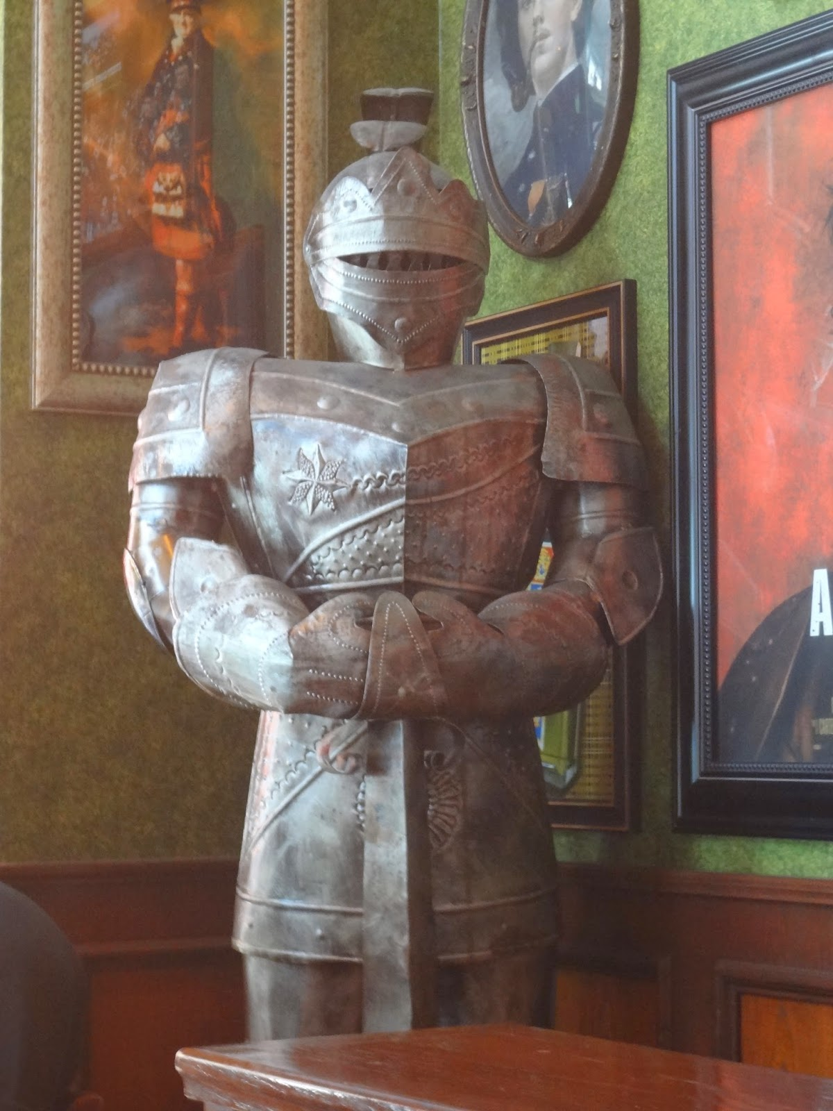 suit of armor on display in the tilted kilt pub and eatery