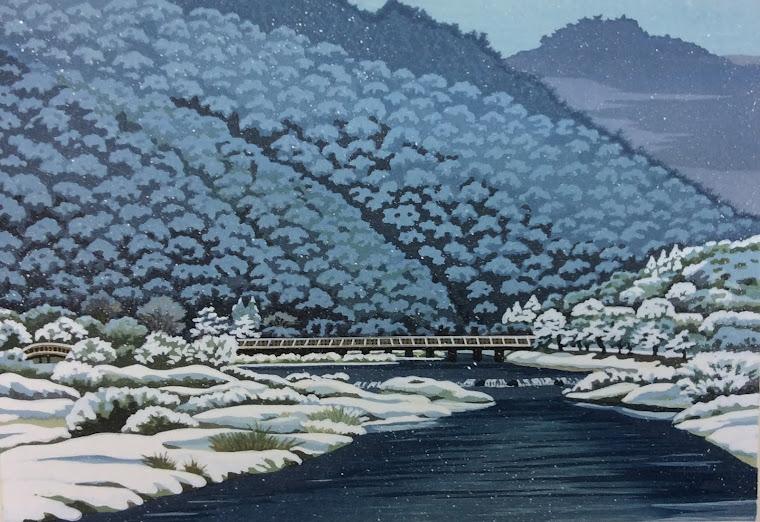 木版画 嵐山雪花